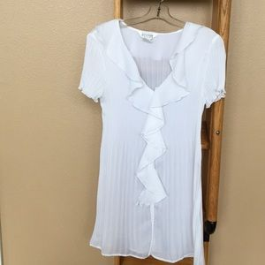 New white  shear tunic